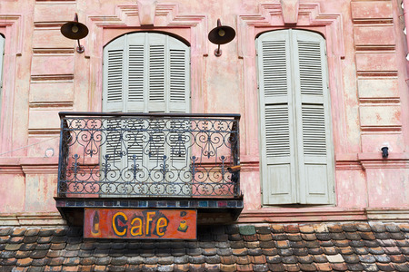 Facade of vintage cafe