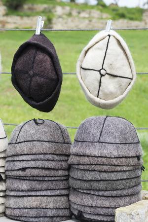 kippa: Traditional Georgian hats on the local street market stall Stock Photo