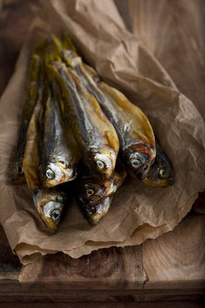 smelt: Salted stockfish on a kitchen table