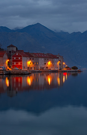 kotor: Bay of Kotor at night.