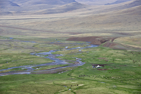 nomad: Nomad camp in the Chuya steppe Altai Mountains