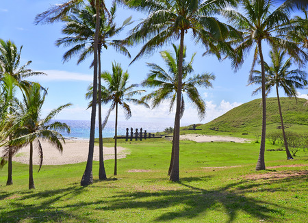 Anakena beach with Moai statues, Easter island, Chile