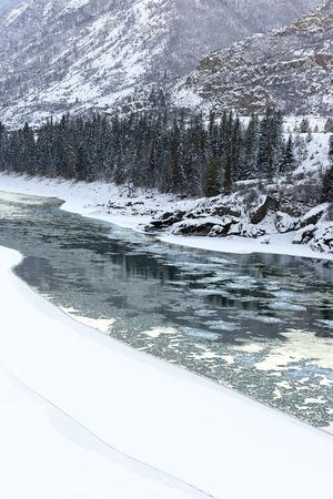 katun: Katun River in Altai Mountains, Winter