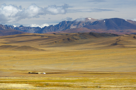 Steppe landscape with nomad camp