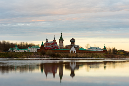 Saint Nicholas Monastery for Men in Staraya Ladoga, view from a bank of Volkhov river at dawn.