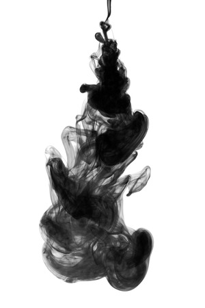 black dye: Black ink dropped into water isolated on white Stock Photo