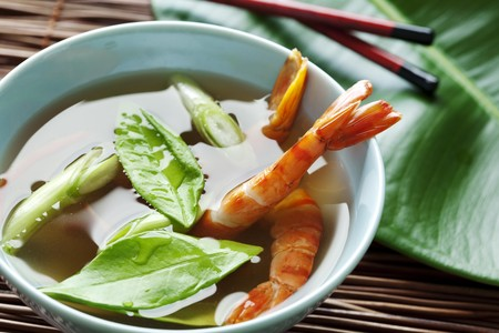 closeup of prawn soup with kafir leaves Stock Photo