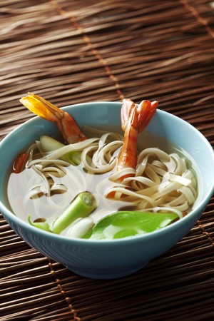 indonesian food: asian style noodle and prawn soup