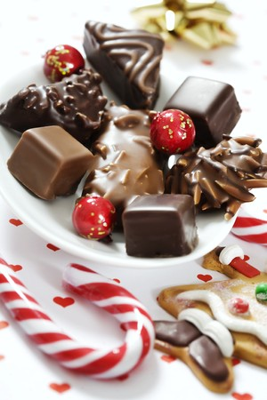 a mixture of delicious gingerbread assortments, covered in chocolate Stock Photo