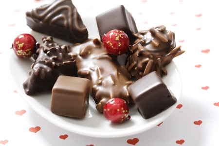 confectionary: assortment of chocolate covered gingerbread with almonds and nuts
