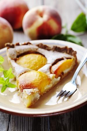 homemade peach tart, made with fresh peaches and almond cream Stock Photo