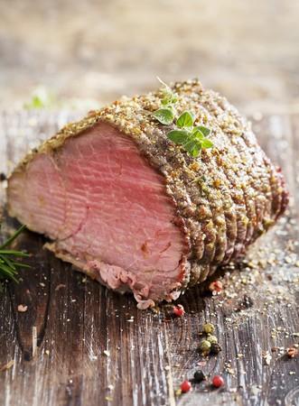 roast beef: juicy roast beef covered in herbs