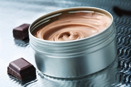 jar with chocolate butter cream Stock Photo