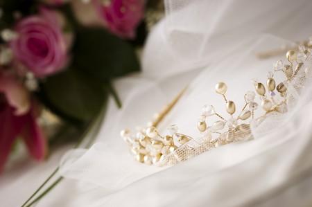 tiara, veil and flowers