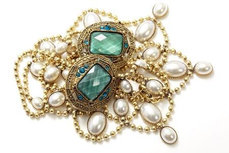 neckless: closeup of shiny vintage jewelry