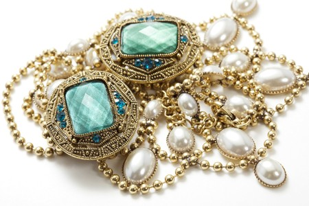 fashion jewelry: closeup of glamorous vintage jewelry