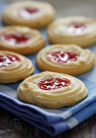 cookies with jam in the middle Stock Photo