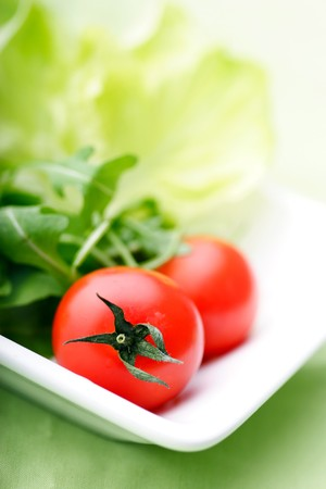 fresh vegetables: modern plate with lettuce,rocca and tomatos, room for text