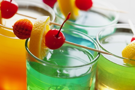close up of colorful summer cocktail