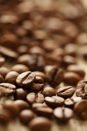 closeup of coffee beans, shallow dof Stock Photo