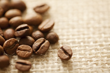 coffe beans on a classic sac,shallow dof photo