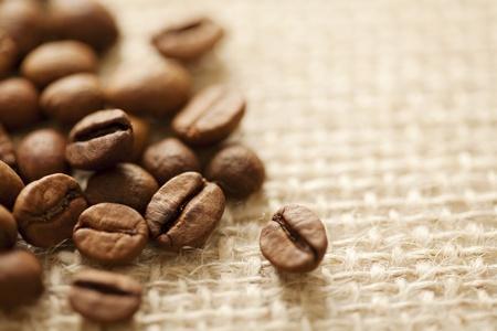 coffe beans on a classic sac,shallow dof