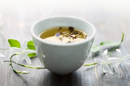 jasmine flower: asian style tea cup with jasmin tea