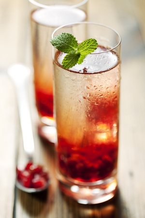 delicious pomegranate cocktail, shallow dof Stock Photo