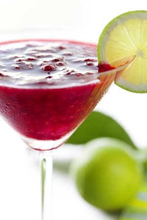 this is a very closeup of a frozen raspberry daiquiri