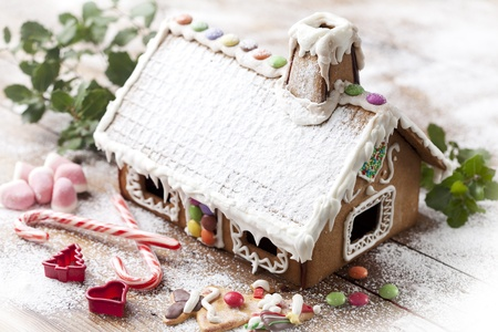 gingerbread house: closeup of christmas sweets