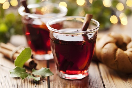 coziness: closeup of mulled wine, focus on the anise star, shallow dof