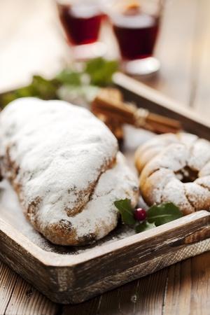 christmas pudding: closeup of christmas stollen