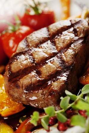 grilled steak: juicy grilled beef fillet Stock Photo