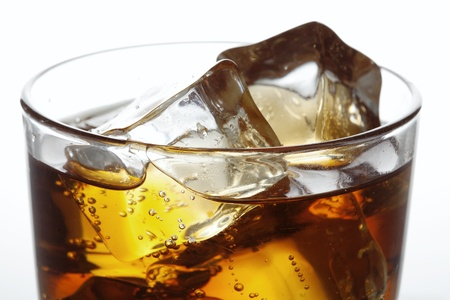 fizzy: cola with ice, close up Stock Photo