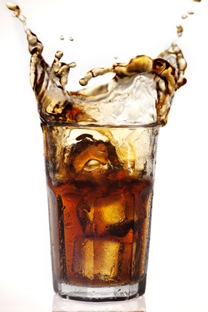 soda splash: dramatic cola splash, there is some movement in the splashes