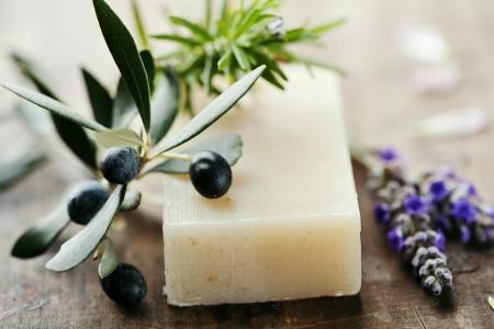 bar of soap: closeup of natural hebal soap