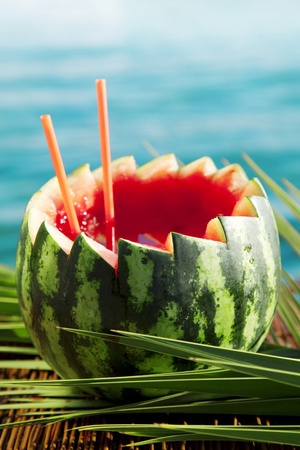 watermelon cocktail by the sea Stock Photo