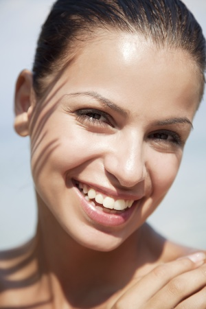 faced: closeuo of fresh faced young happy female Stock Photo