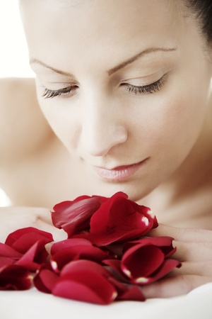 beauty portrait with red rose petals Stock Photo - 10589974