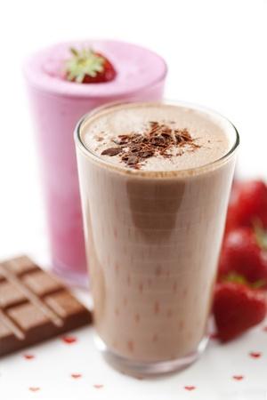Smoothies:  Batido de fresa y chocolate Foto de archivo