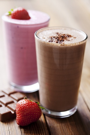 strawberry and chocolate milk shake Stock Photo