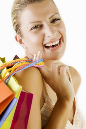 young happy woman having fun going shoping photo