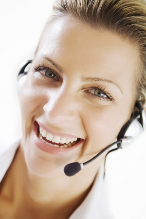 customer service representative: happy customer service Stock Photo