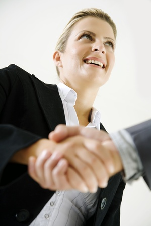 proffessional: happy business woman shaking hands Stock Photo