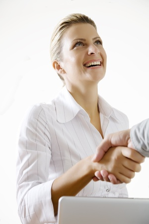 proffessional: happy deal, focus on womans face Stock Photo