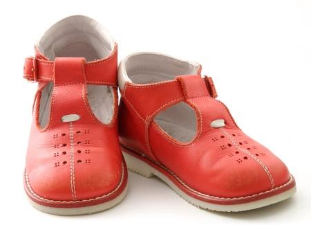 red baby shoes Archivio Fotografico