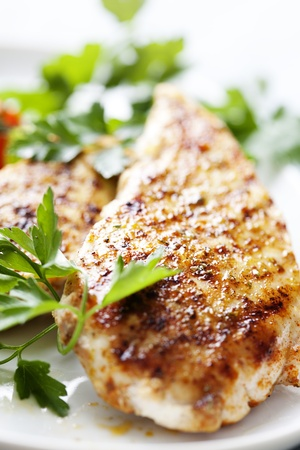closeup of juicy grilled chicken fillet Stock Photo