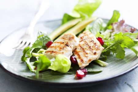 closeup of a healthy chicken salad with greens and pomme granate seeds and avocado Foto de archivo
