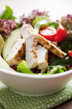 closeup of a healthy chicken salad with greens and pomme granate seeds and avocado Stock Photo