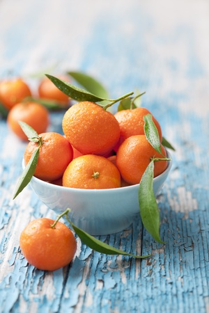 bowl of fresh mandarins, straight from the tree photo